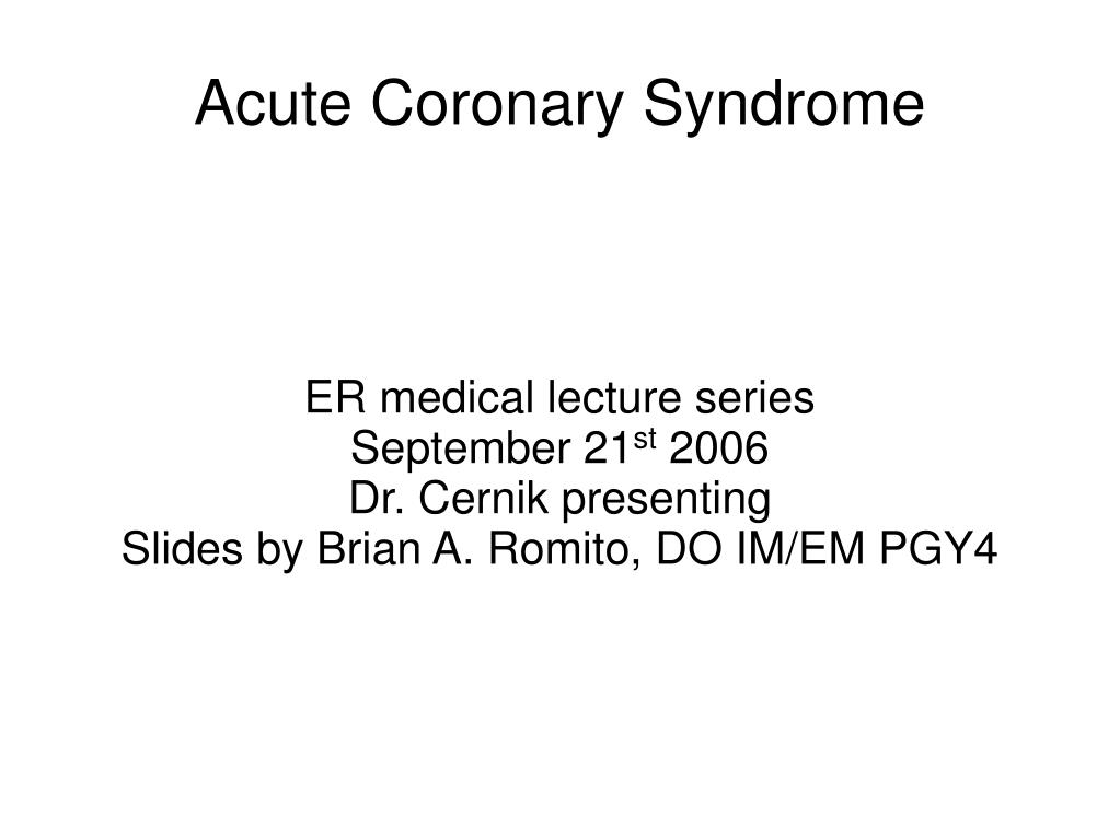 ER medical lecture series