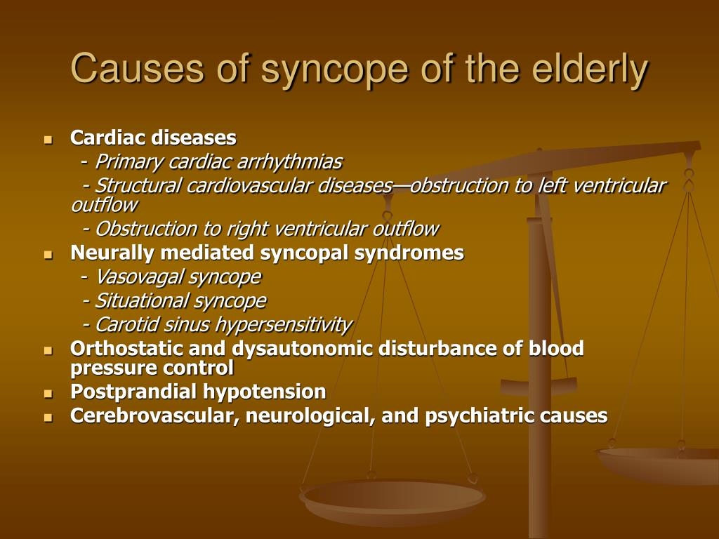 Causes of syncope of the elderly