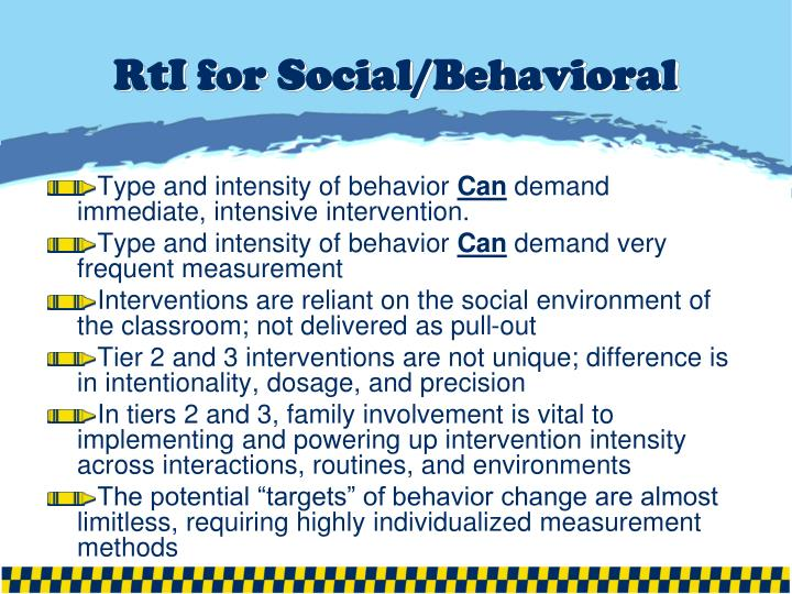 RtI for Social/Behavioral