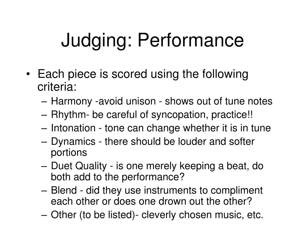 Judging: Performance