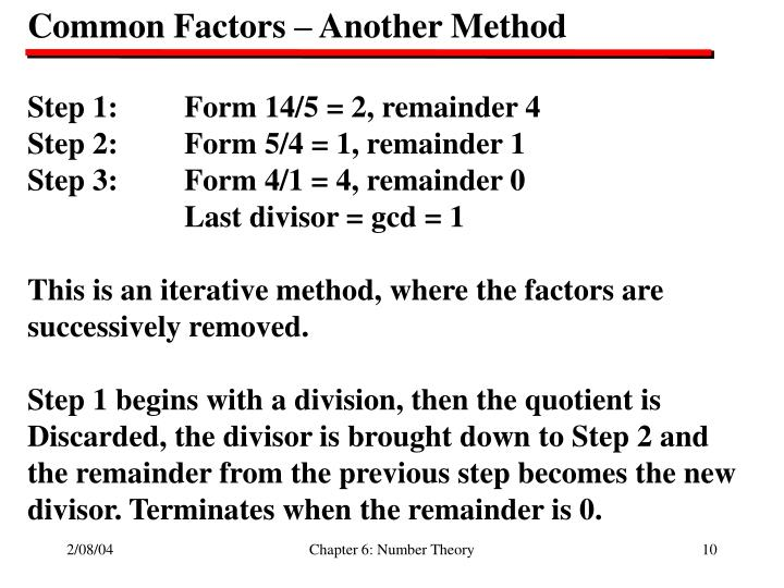 Common Factors – Another Method