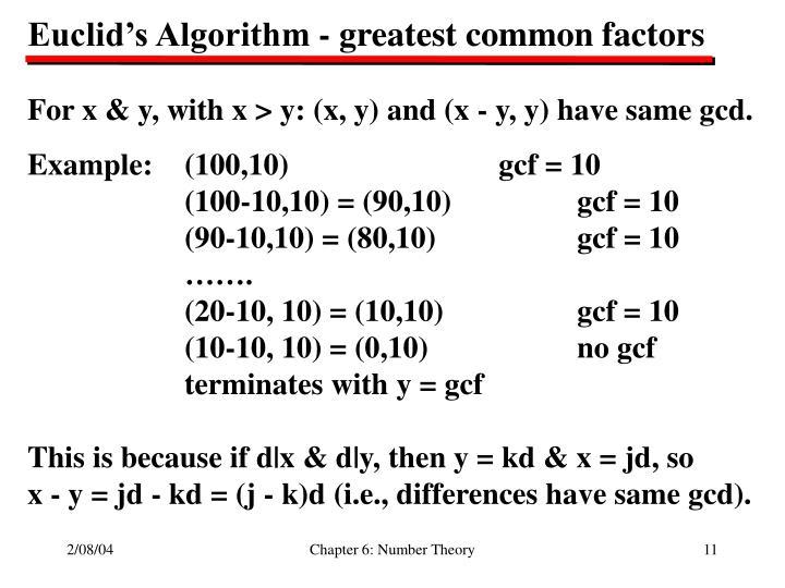 Euclid's Algorithm - greatest common factors