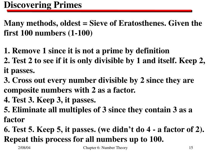 Discovering Primes