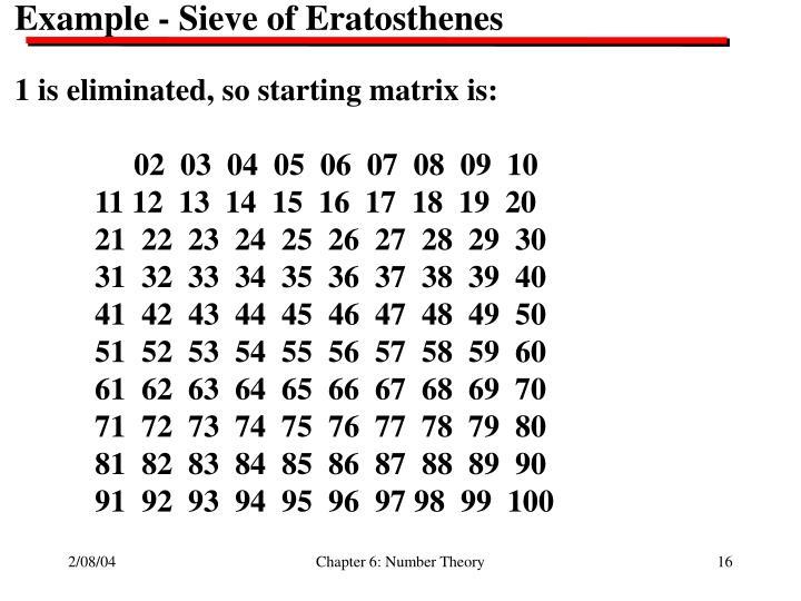 Example - Sieve of Eratosthenes