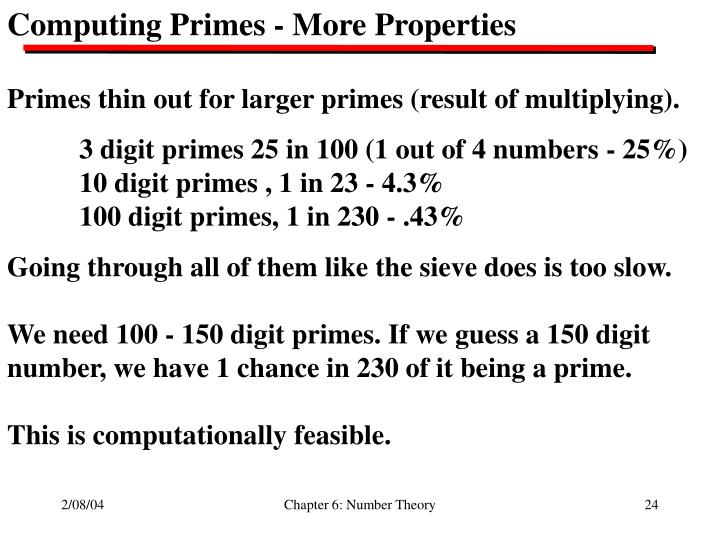Computing Primes - More Properties