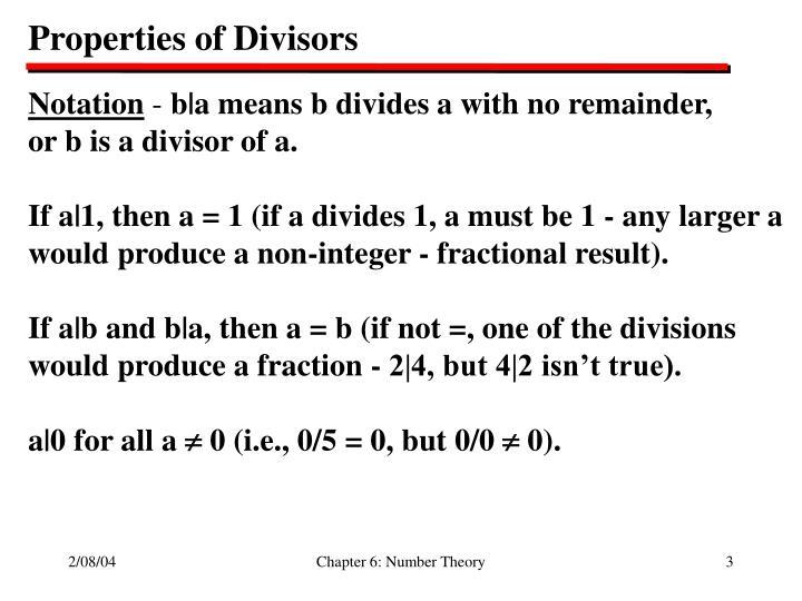 Properties of Divisors
