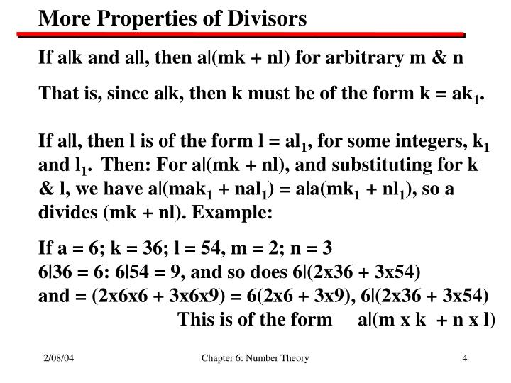 More Properties of Divisors