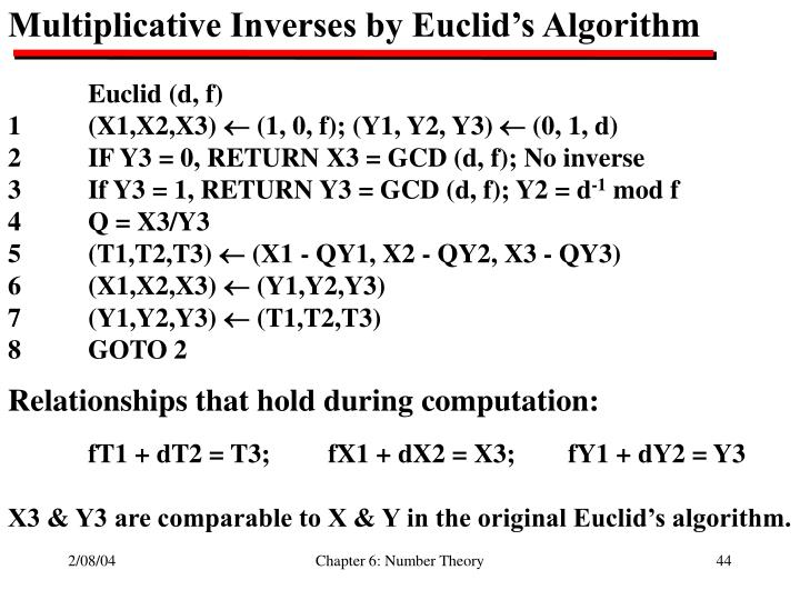 Multiplicative Inverses by Euclid's Algorithm
