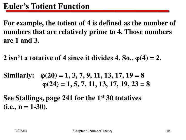 Euler's Totient Function
