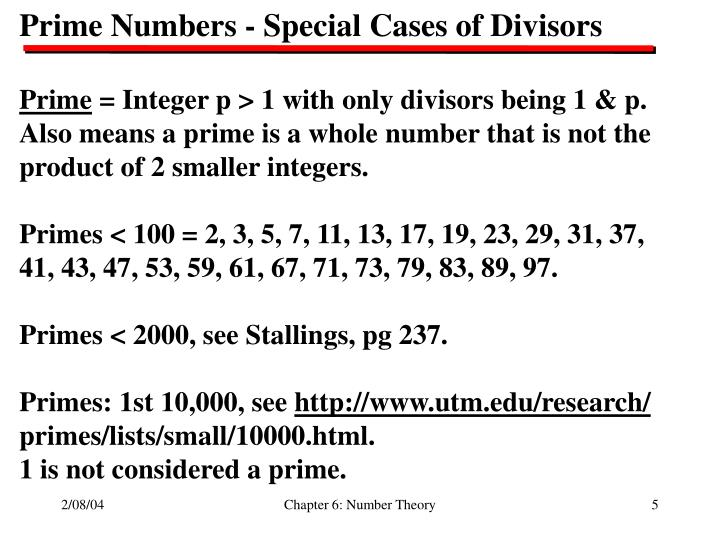 Prime Numbers - Special Cases of Divisors