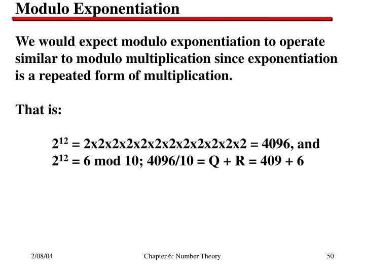 Modulo Exponentiation