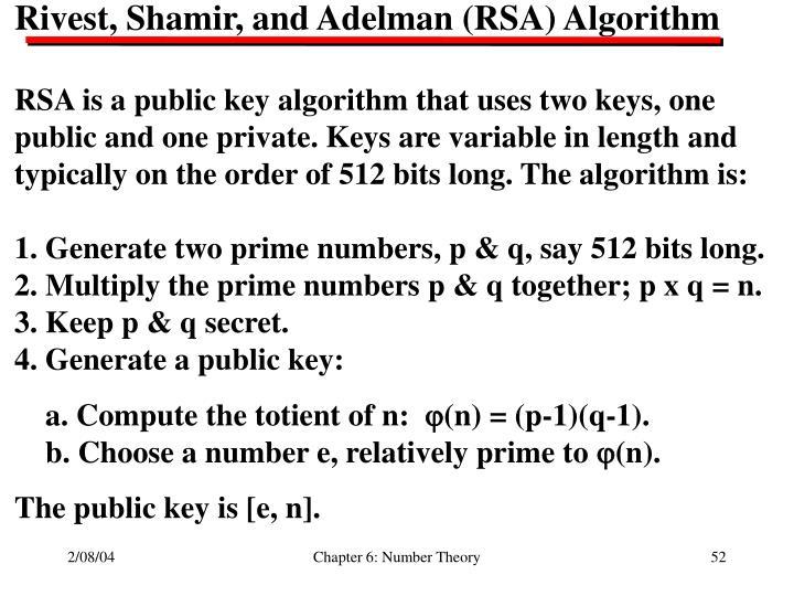 Rivest, Shamir, and Adelman (RSA) Algorithm