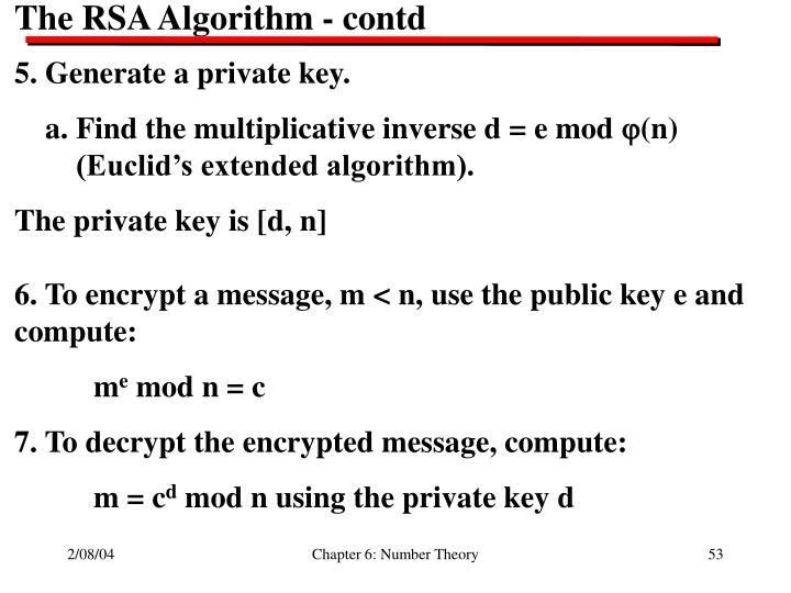 The RSA Algorithm - contd