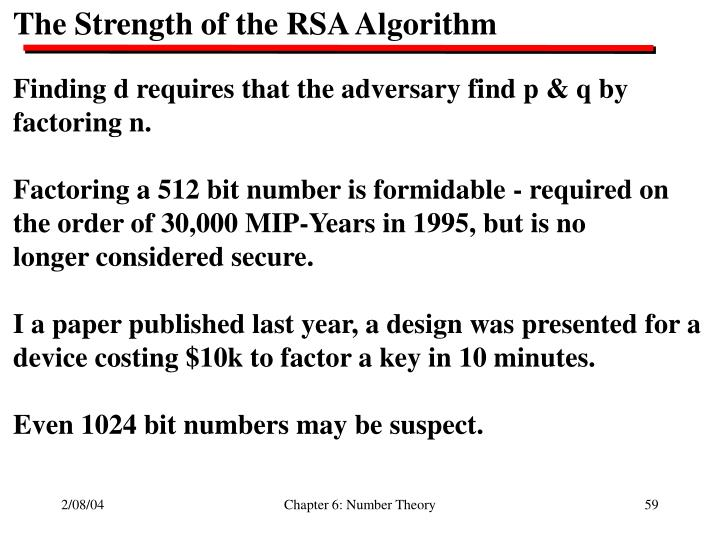 The Strength of the RSA Algorithm