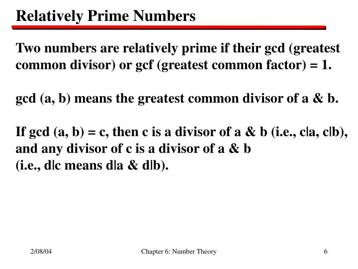 Relatively Prime Numbers