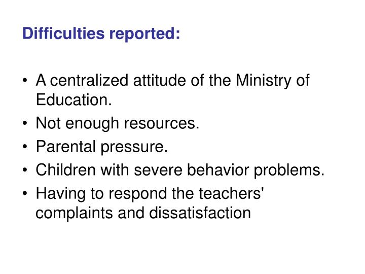 Difficulties reported: