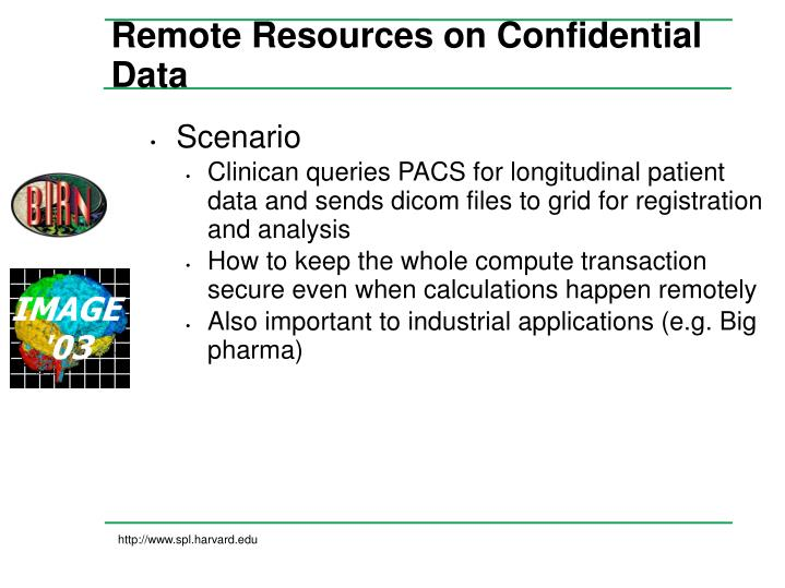 Remote Resources on Confidential Data