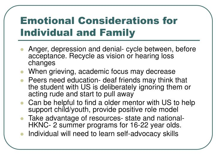 Emotional Considerations for Individual and Family