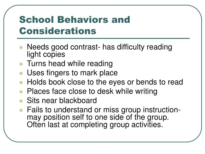 School Behaviors and Considerations