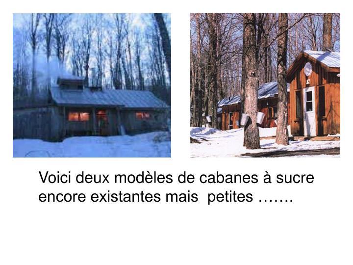 Voici deux modèles de cabanes à sucre