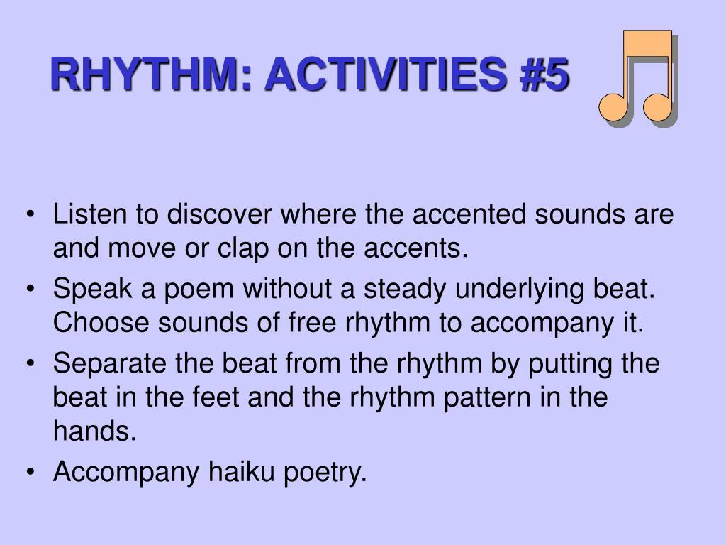 RHYTHM: ACTIVITIES #5