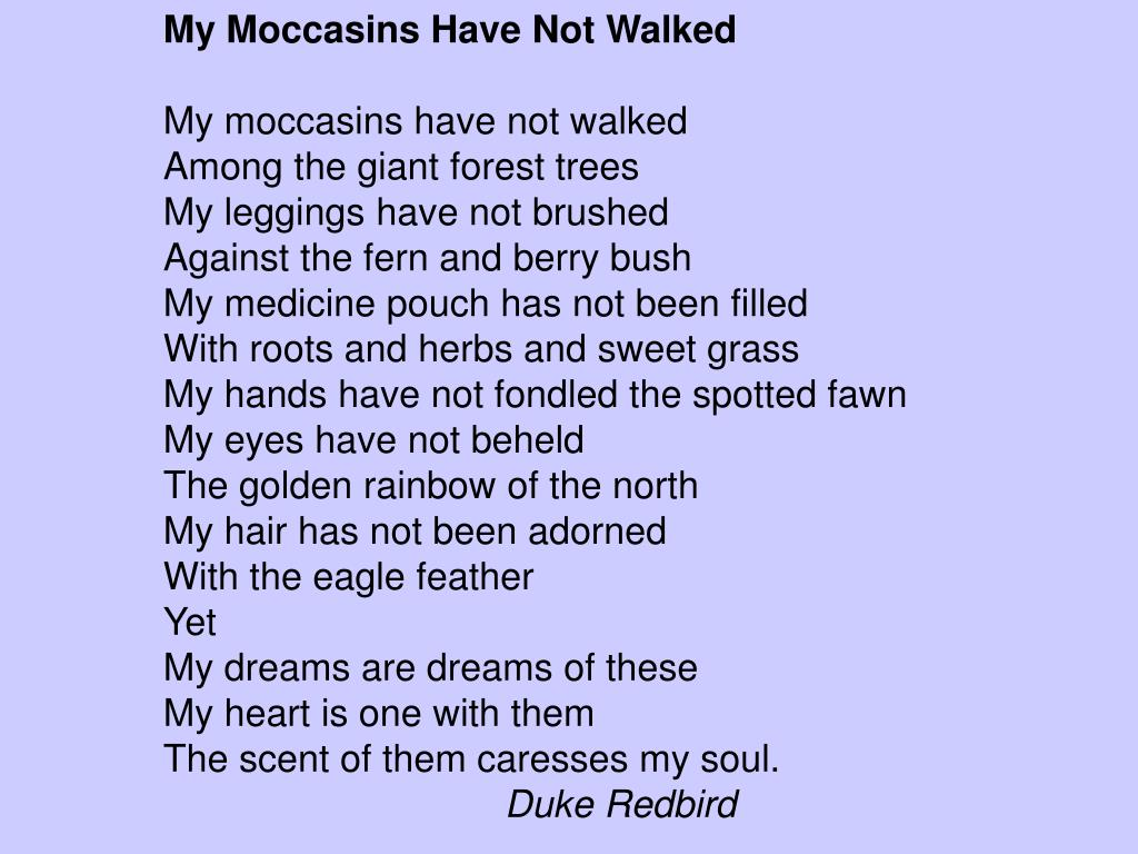 My Moccasins Have Not Walked