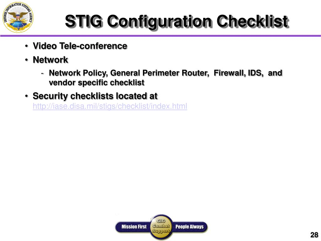 STIG Configuration Checklist