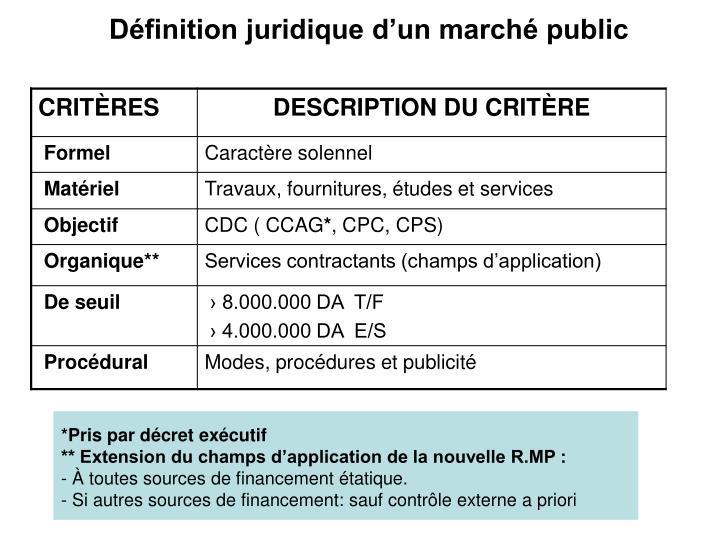 Définition juridique d'un marché public