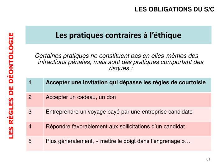 LES OBLIGATIONS DU S/C