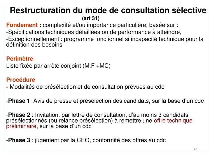 Restructuration du mode de consultation sélective