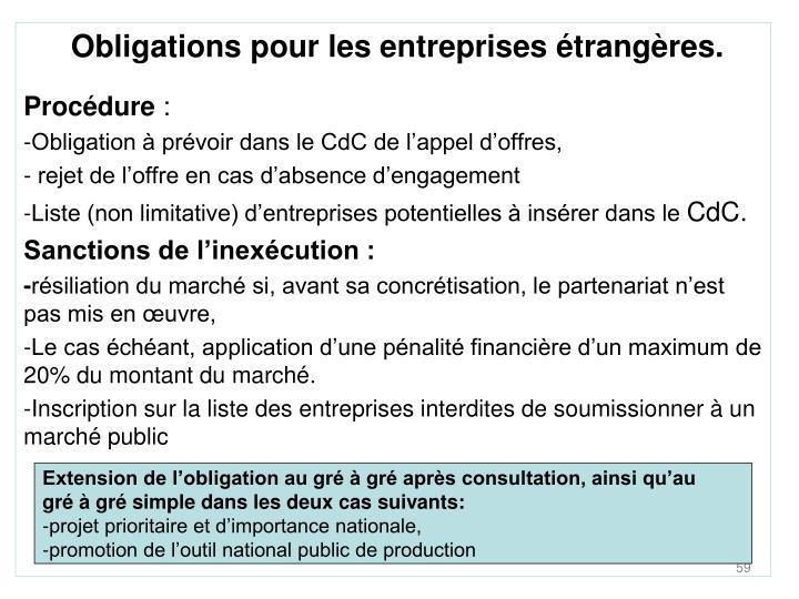 Obligations pour les entreprises étrangères.