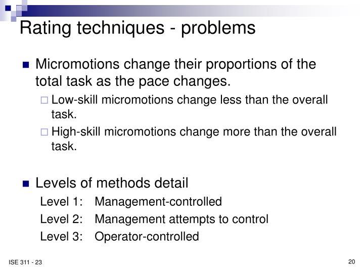 Rating techniques - problems