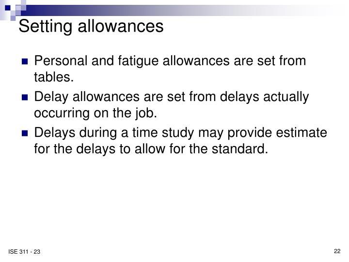 Setting allowances