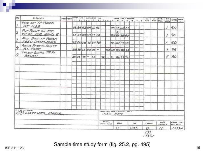 Sample time study form (fig. 25.2, pg. 495)