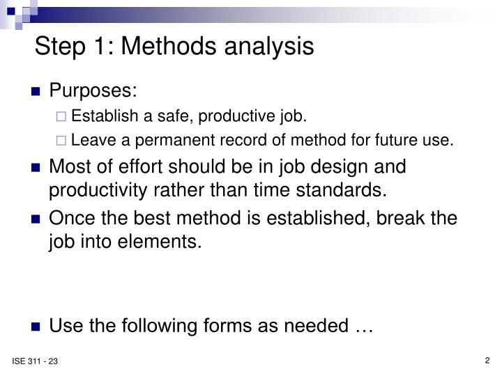 Step 1: Methods analysis