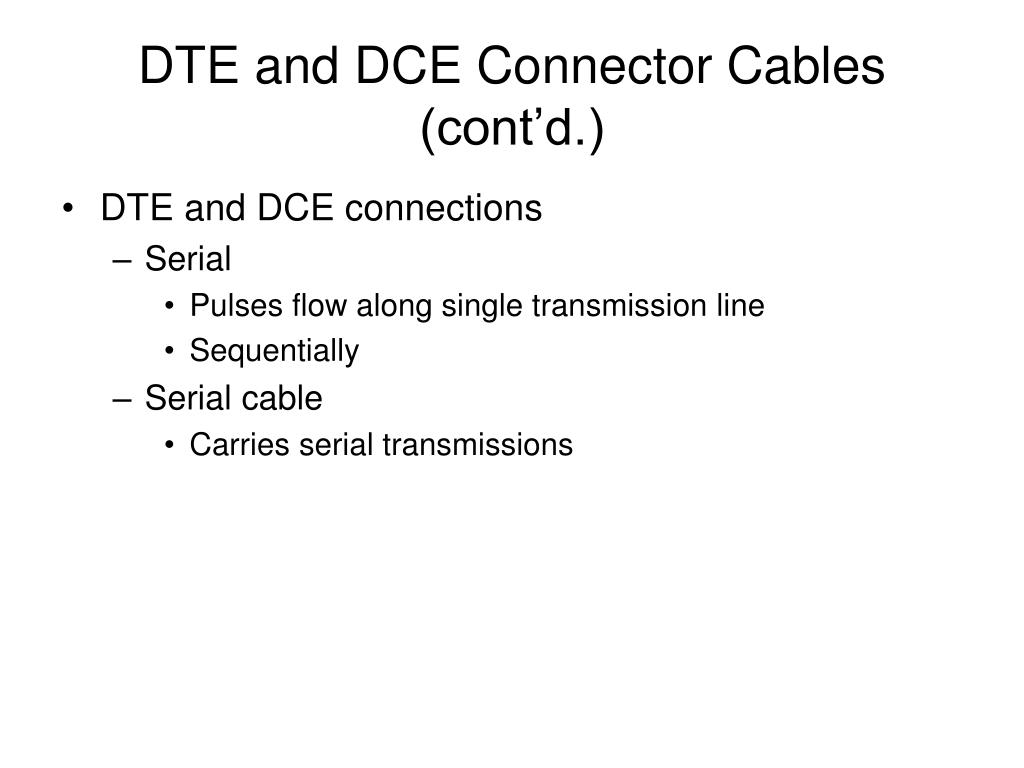 DTE and DCE Connector Cables (cont'd.)