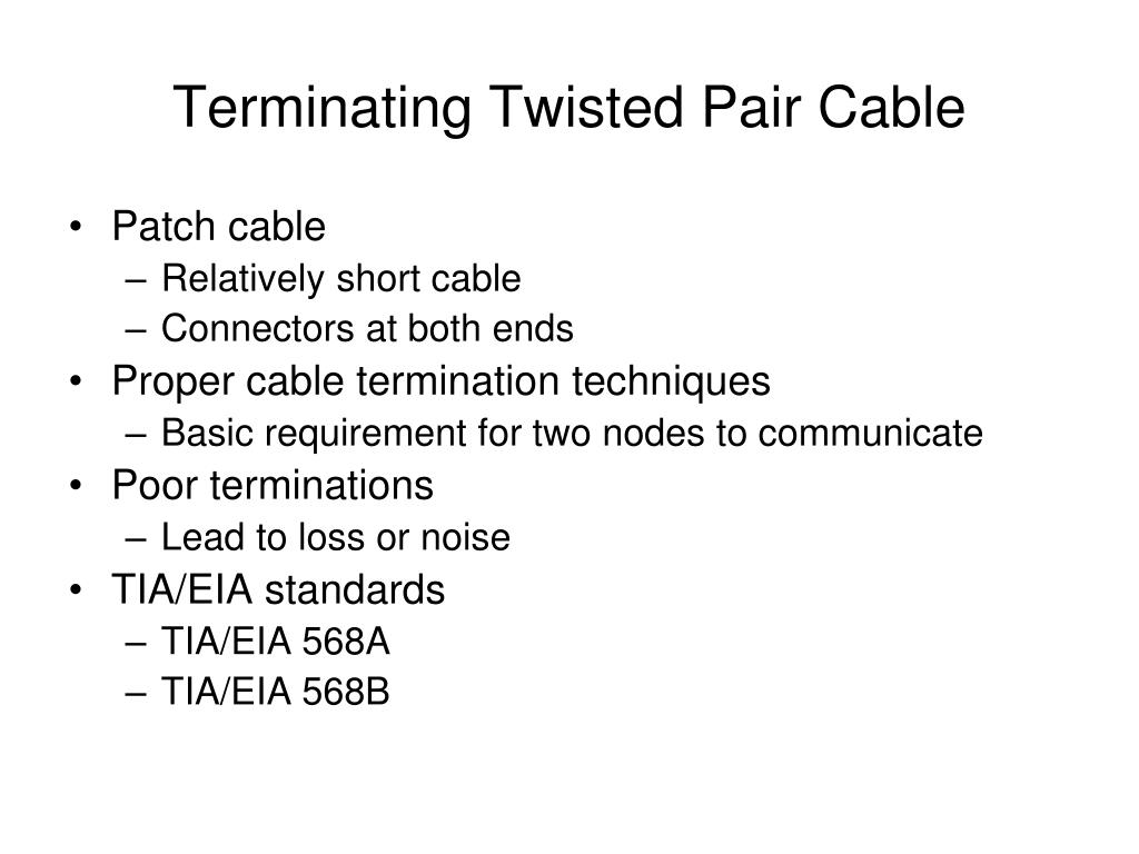 Terminating Twisted Pair Cable