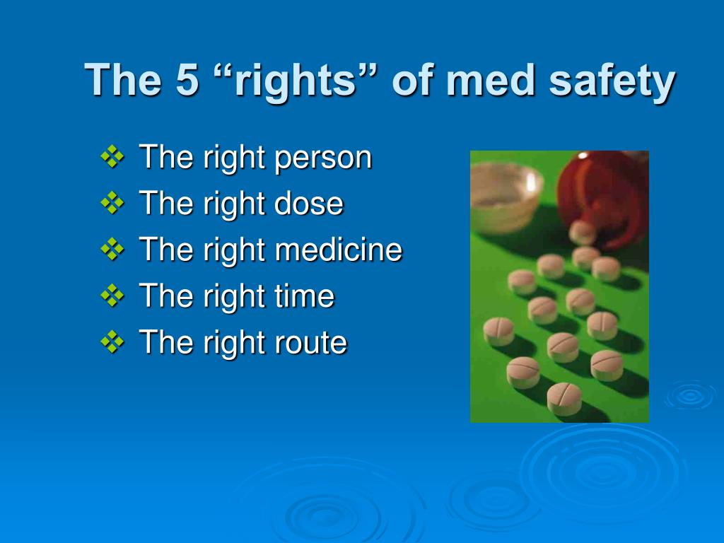 "The 5 ""rights"" of med safety"