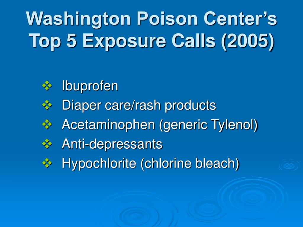 Washington Poison Center's Top 5 Exposure Calls (2005)