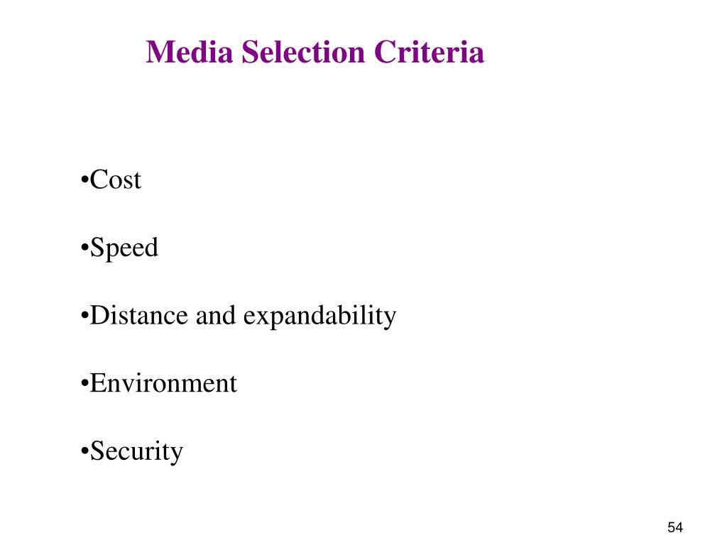 Media Selection Criteria