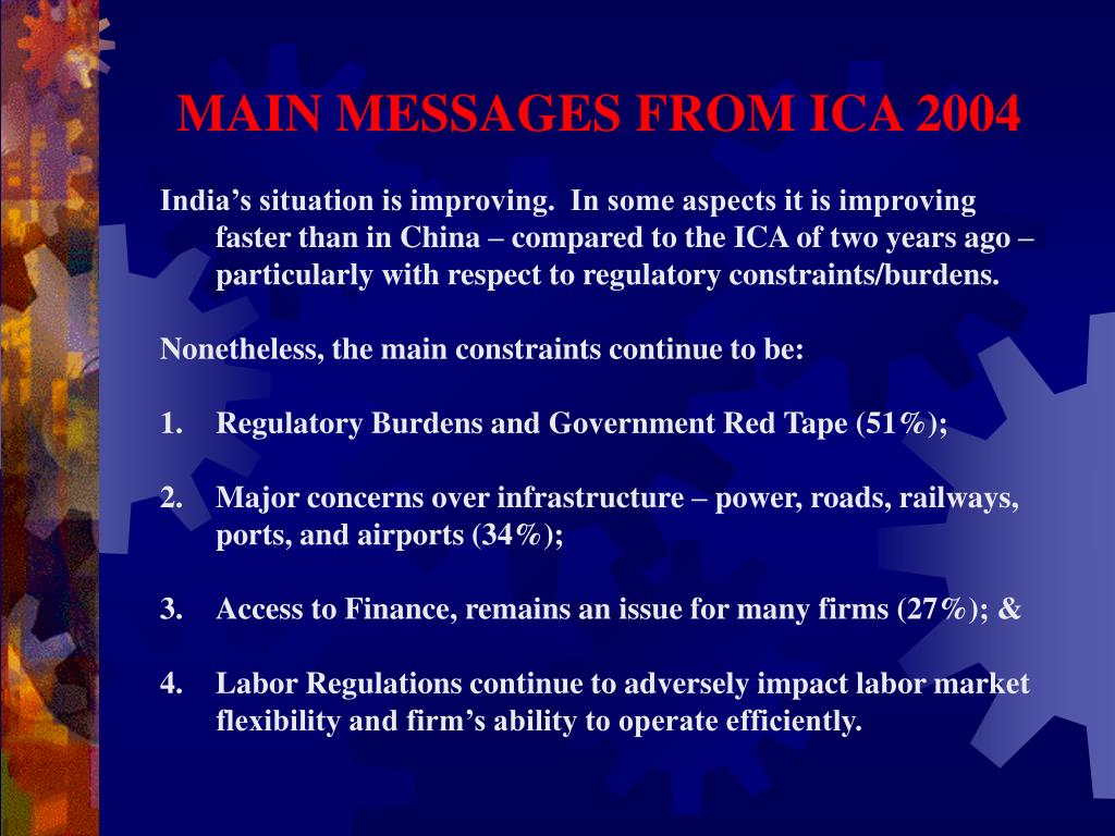 MAIN MESSAGES FROM ICA 2004