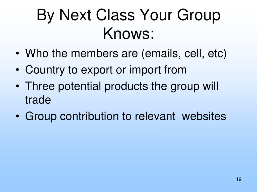 By Next Class Your Group Knows: