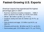 fastest growing u s exports