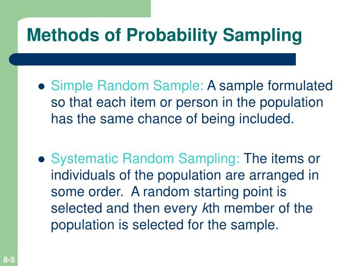 Methods of Probability Sampling