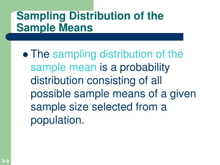 Sampling Distribution of the Sample Means