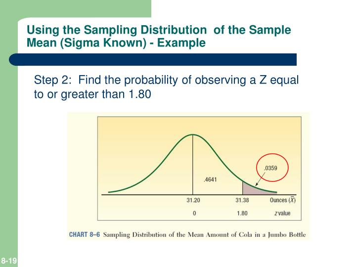 Using the Sampling Distribution  of the Sample Mean (Sigma Known) - Example