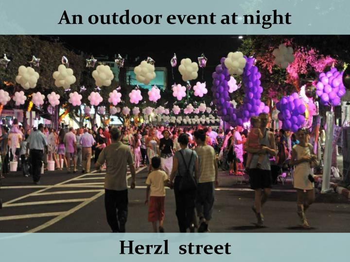 An outdoor event at night