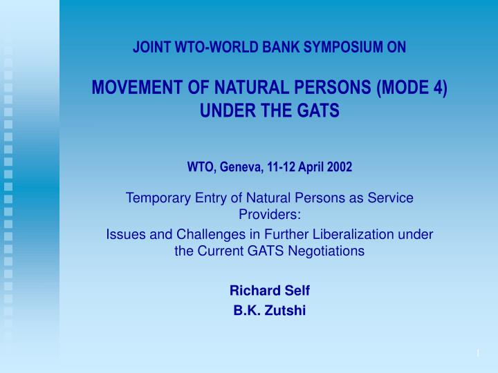 JOINT WTO-WORLD BANK SYMPOSIUM ON