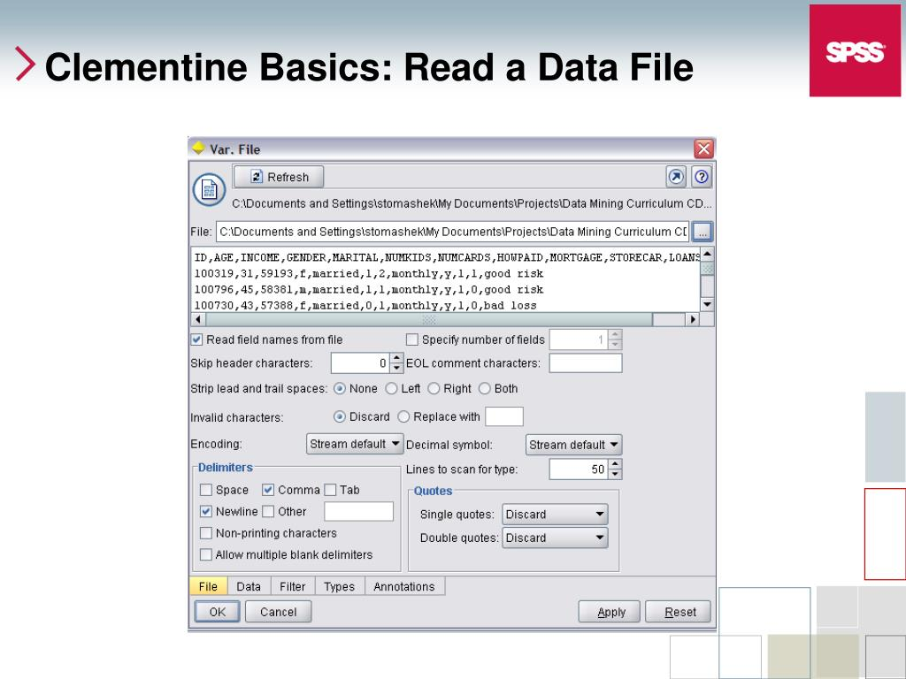 Clementine Basics: Read a Data File