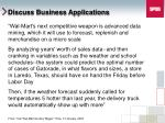 discuss business applications